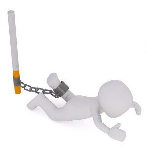 bonhomme attaché à cigarette - arrêt tabac addictions - application des thérapies brèves