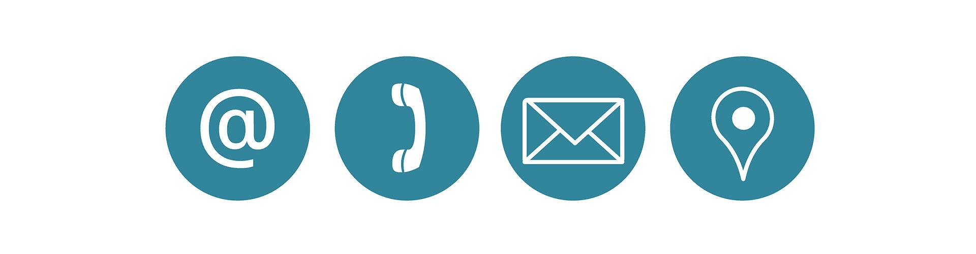 infos de contact - symboles téléphone, mail